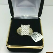 Real 2CT Diamond Solid 10K Yellow Gold Ladies Ring Anniversary Wedding,Baguette