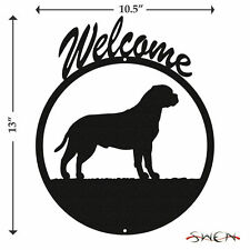 Swen Products Bull Mastiff Dog Black Metal Welcome Sign