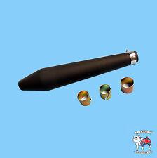 PEASHOOTER REVERSE MEGAPHONE MUFFLER 19 INCH WITH REDUCERS BLACK FINISH