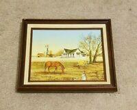 VINTAGE ORIGINAL R. SMITH OIL ON CANVAS PAINTING. FRAMED FARM SCENE WITH HORSE.
