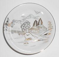 Hayasi Kutani China Porcelain Gold Countryside Mt Fuji Birds River Fruit Bowl