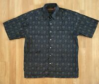 Tori Richard Hawaiian men's short sleeve shirt Black brown palms print Cotton