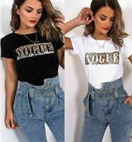 """Ladies Short Sleeve T-Shirt Women """"VOGUE"""" Leopard Zebra Slogan Print Tee Top UK"""