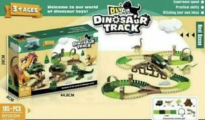 Kids Dinosaur toy Track Set  Creative Diy Kids Construction Toy Flexible 185pcs
