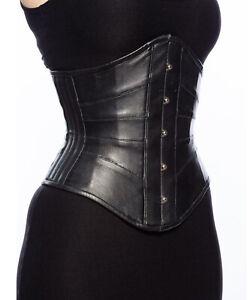 Heavy Duty Steel Boned Underbust Genuine Leather Waist Trainer Shaper Corset
