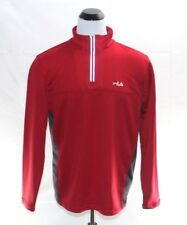 Fila Mens Red & Gray 1/4 Zip Pullover Casual Sports Athletic Sweater Shirt Xl