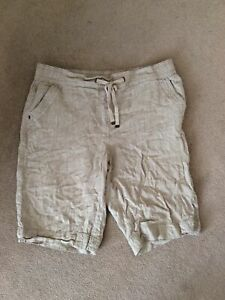 Ladies Size 14 Stone Colour Elasticated Waist Linen Blend Shorts By George