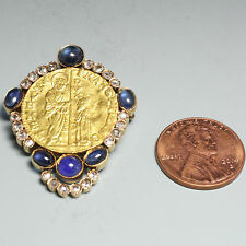 Venice Doges Ducat (Zecchino) 18K Pin with Blue Sapphires and Diamonds