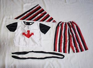 JoAnn Stores Small 1-2 Yrs Boys Pirate 4 piece Costume Cap Pants Sash Shirt EUC