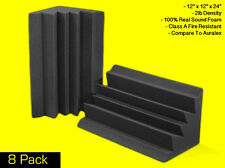 """Soundproofing Foam Acoustic Bass Absorbers Corner Traps (8 Pack) 12""""x12""""x24"""""""