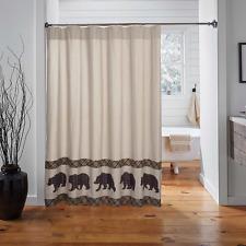 WYATT BEAR Shower Curtain Cabin Lodge Hunting Rustic Farmhouse Khaki Chambray