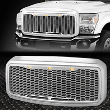 FOR 11-16 FORD SUPER DUTY ABS CHROME MESH FRONT BUMPER GRILLE W/SHELL+LED LIGHT