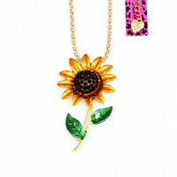 Betsey Johnson Enamel Crystal Sunflower Pendant Chain Necklace/Brooch Pin Gift