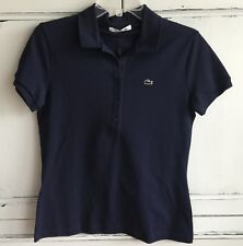 NEW Lacoste Women's Navy Blue Polo Shirt Size 40 US Large 8 ATP Branded Tennis