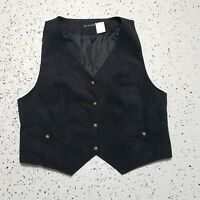 Bay Studio Women's Button Down Vest ~ Sz L ~ Black ~ Sleeveless ~ Lined