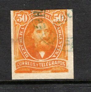 Argentina 1890 used #81a imperforate 50c orange uncatalogued as used single
