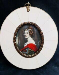 Miniatur Portrait Amalia v. Schintling 9,5 x 8,5  cm 210/19/30