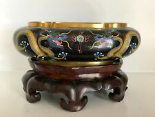 "Great Old 11""+ Chinese Cloisonne Lobed Oval Jardiniere Bowl ~Dragons ~Fine Stand"