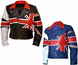 Men Cafe Racer Union Jack UK | British Flag Motorcycle Biker Real Leather Jacket