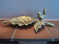 VINTAGE SOLID HEAVY BRASS CAST FOOTED ART DECO BIRD ON LEAF DRESSER/PIN TRAY.