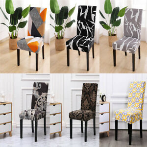 Printed Dining Chair Covers Stretch Spandex Seat Slipcovers Wedding Party Home