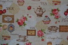 tissu patchwork toile de lin motifs tea time sur fond crème 40x55cm