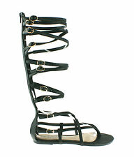 LADIES WOMENS GLADIATOR STRAPPY SANDALS FLAT KNEE HIGH ZIP UP BOOTS SHOES SIZE