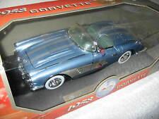 1958 CORVETTE  BLUE W/ SILVER COVE/STRPS 1:18 MOTOR MAX OPENING HOOD DOORS TRUNK