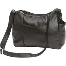 Black Solid Lambskin Leather Purse Cellphone Holder Handbag Shoulder Strap Bag