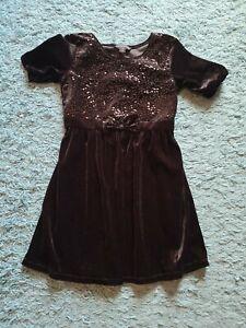 NWOT George Girl's Holiday Christmas Dress Portrait Size 7-8 Black Sequin SOFT!