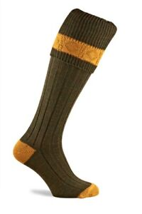 Pennine Byron Shooting Socks - Olive/Gold Kids Childs Children's UK 12-2.5 & 3-5