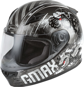 GMAX Youth GM-49Y Beasts Full-Face Helmet (SZ Youth Large, Dark Silver/Black)