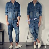 Casual Men Denim Overalls Jumpsuits Slim Fit Pants Skinny Jeans Fashion Trousers