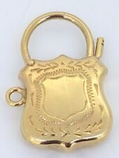 9k engraved Shield Padlock to suit Charm Bracelet_375 yellow gold