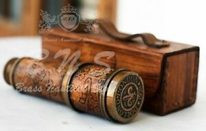 """Vintage Brass Telescope 16"""" Leather Nautical Spyglass Antique With Case Gift"""