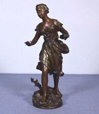 *French Antique Sculpture Bronzed Spelter of a Woman by Ernest Roncoulet