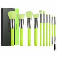 Docolor Makeup Brushes 10 Piece Neon Green Makeup Brush Set