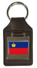 Leather Keyring  Engraved Liechtenstein Flag