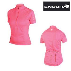 Endura Women's Xtract S/S Mountain Bike Cycling Jersey Hi Viz Pink SMALL New