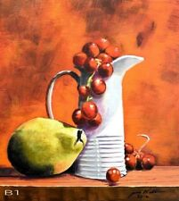 painting 11x14 Acrylic on Canvas of Still Life of White Pitcher/Fruit B1