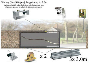 Sliding Gate Kit for gates up to 5.0m (concrete in track & recessed wheels)
