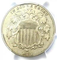 1881 Shield Nickel (5C Coin) - PCGS AU Details - Rare Date - Near MS / UNC!