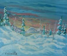 "Serge Cadorette 20x24"" Oil Painting Snow Sunrise Landscape Canadian Listed"