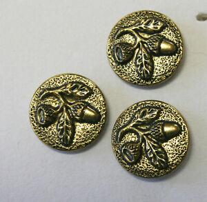 3 Vintage Gesch Gold Metal Acorn Buttons~