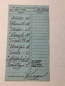 New York Mets '69 Game Used Lineup Card Gil Hodges Signed Tommie Agee Baseball 2