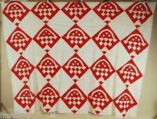 UNUSUAL Vintage 1900's Red & White Baskets Quilt Top ~GREAT DESIGN!