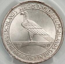 1930-A Weimar Germany 3 Silver Reichsmark PCGS MS 65 Rhineland J-345 LUSTROUS
