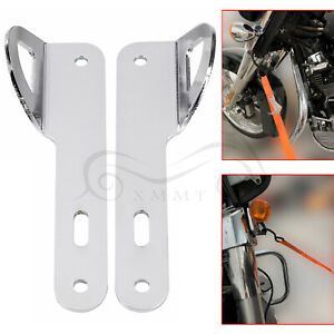 Motor Front End Strap Trailer Hook Tie-Down Brackets For Harley Touring Chrome