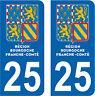 2 STICKERS STYLE PLAQUE IMMATRICULATION BLASON BOURGOGNE FRANCHE COMTÉ DEPT 25