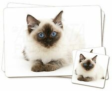 Ragdoll Cat with Blue Eyes Twin 2x Placemats+2x Coasters Set in Gift B, AC-159PC